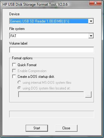 HP USB Disk Format Tool