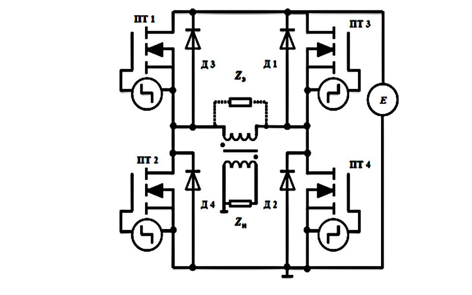 Схема инвертора напряжения тока