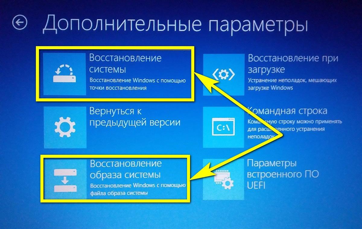 Режим восстановления системы в Windows 10