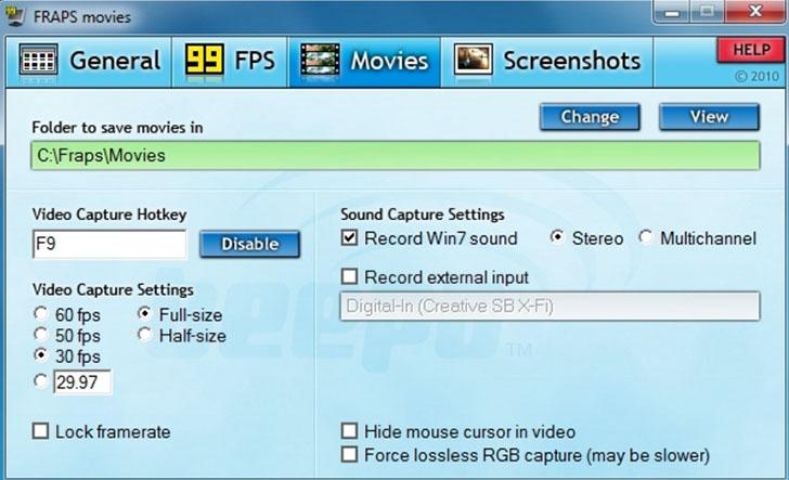 Fraps — программа для записи с экрана