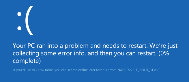 Ошибка Inaccessible_boot_device в Windows 10
